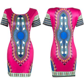 Women Summer Casual Short Sleeve Bohemian Vestido De Renda Traditional African Print Mini Dress Dashiki Bodycon Beach Dresses