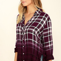 White Crow Open Arms Burgundy Plaid Button-Up Top