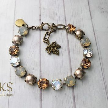 Feels Like Fall, Swarovski Bracelet, 8mm, Pearl, Opal, Adjustable, Antique Gold, Bridal, Gift, DKSJewelrydesigns, FREE SHIPPING