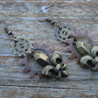 Steampunk Fleur de lis French Gear Earrings -Steampunk -Gear Dangle Earrings-Christmas -Holiday -Gifts for her -Women Gifts -steampunk gifts
