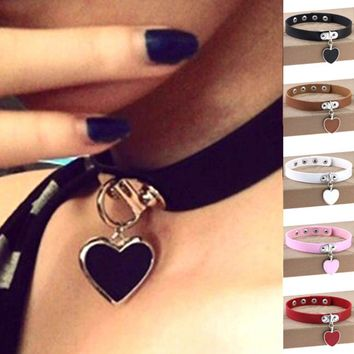new Heart Choker Necklaces for Women Trendy Goth Punk PU Leather Choker Collar Accessories