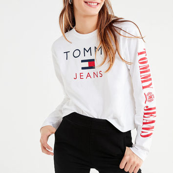 Tommy Jeans Long Sleeve Tee   Urban Outfitters