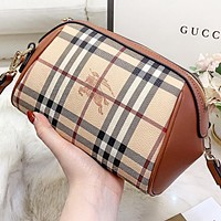 Burberry New fashion stripe plaid leather shopping leisure crossbody bag shoulder bag Brown