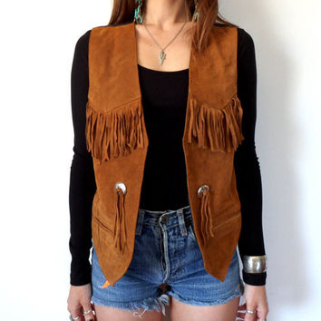Concho & Fringe Brown Leather Suede Vest Size Small