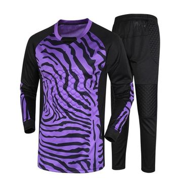 new men Soccer Goalkeeper Jersey  Set Football suit Sponge Protector Suit Camisetas De Futbol Jersey set diy number name logo