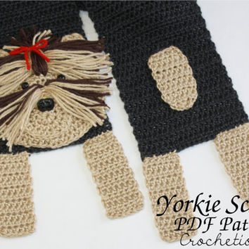 Crochet PATTERN - Yorkie Scarf / Dog Breed Scarf, Puppy Scarf, Dog Scarf, Neck Warmer - PATTERN ONLY