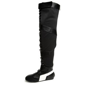 Black Lace Up Strap OTK Thigh High Flat Sneaker Boots