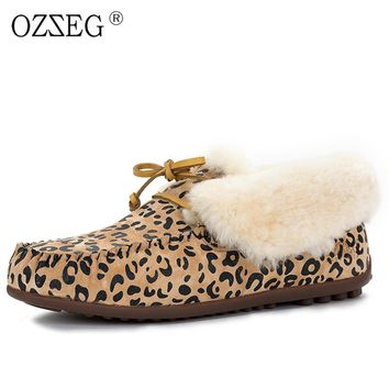 Valentine Leopard Winter warm Female Genuine Leather Suede Lined Real Fur Australia Snow Boot Furry Moccasins Flat Shoe Women ug