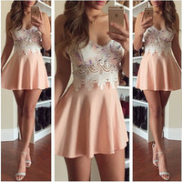 2015 new women's fashion pink sexy strapless lace dress RTW66WG