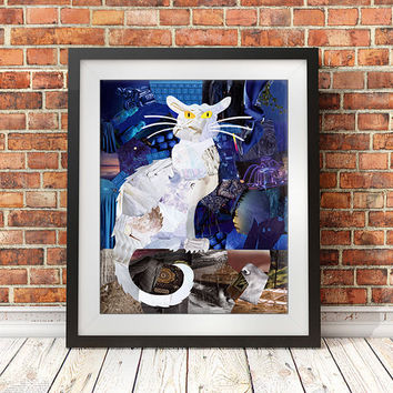 Cat print, Cat art, Cat decor, father's day gift, Mixed Media, Cat Poster, Cat Wall Decor, Wall Art, bohemian decor, Graduation gift