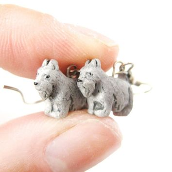 Mini Schnauzer Puppy Dog Shaped Porcelain Ceramic Animal Dangle Earrings | Handmade