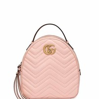 Gucci GG Marmont Quilted Leather Backpack, Light Pink