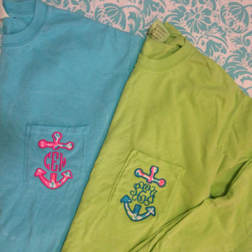 Lilly Pulitzer Anchor Monogrammed Long Sleeve Pocket Tee