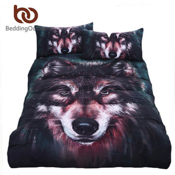 BeddingOutlet Wolf Bedding Set Painting 3D Vivid Duvet Cover Quality Twill Cool Bed Set Multi Sizes 3pcs