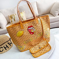 Goyard Women Shopping Bag Leather Handbag Tote Shoulder Bag Purse Wallet Set Two-Piece