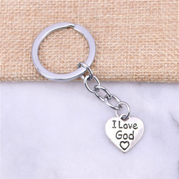 2pcs New charming novelty Silver Color Metal Vintage heart i love god Key Chains Accessory & Chrome plated Key Rings