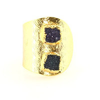 Geometric Shapes Druzy Crystal Wrap Ring Square Geode RM37 Gold Tone Cocktail Statement Fashion Jewelry