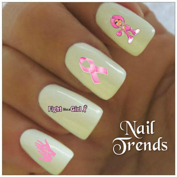 Nail Decal. Breast Cancer Awareness 20 Vinyl Stickers Nail Art