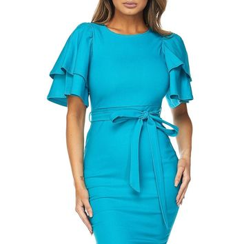 Ruffle Sleeves Midi Dress