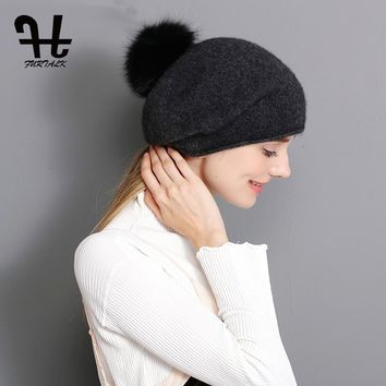 FURTALK 100% Cashmere Women Winter Spring Wool Hat Warm Beret Slouch Russian Baggy Knit Beanie Fox Fur Pom Pom Hat