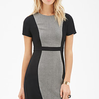 Tweed-Paneled Sheath Dress