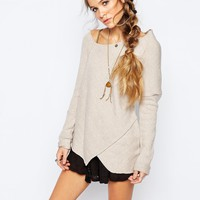 Free People Love and Harmony Wrap Knit Jumper in Oatmeal at asos.com
