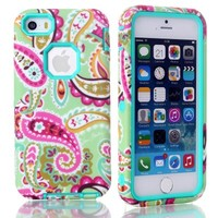 iPhone 5C Case, iPhone 5C Back Cover, MagicSky iPhone 5C Cases Plastic + TPU Paisley Flower Pattern Tuff Dual Layer Hybrid Armor Case for Apple iPhone 5C - 1 Pack - Retail Packaging - Cyan