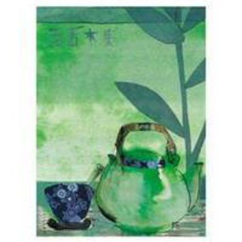 Green Teapot and Japanese Bowl