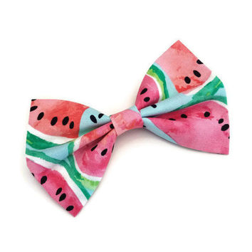 Watermelon Bow • Summer Hair Bow • Pink Hair bow • Fruit Bow • Novelty Hair Bow • Bright Hair Clip • Picnic Fashion • Pink and Green Bow •