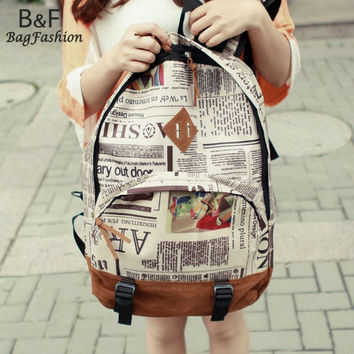 New Fashion Unisex Newspaper Design Print Backpack Bag Schoolbag Design Shoulder Bag F 60