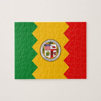 Puzzle with Flag of Los Angeles, California State