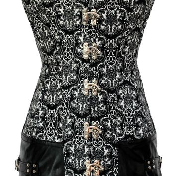 2pcs Vintage Print Corset with Leatherette Decor
