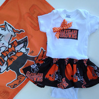 Browns Skirted Onesuit Dress, Browns Baby Dress, Cleveland Baby Dress, Browns Onesuit, Cleveland Browns dress