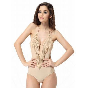 Small V-neck fringed piece swimsuit