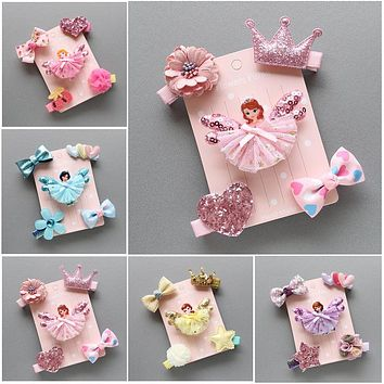 Spring new children's suits cute princess hair clips chiffon yarn bangs folder