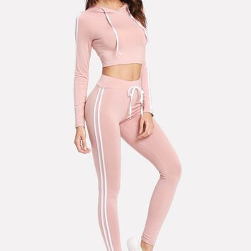 Pink Striped Side Crop Activewear