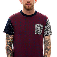 The Bellfield Tiote Polka Dot and Paisley Pocket Tee in Wine