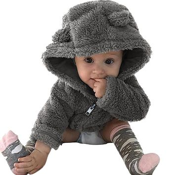 CHAMSGEND Toddler Baby Coat Boys & Girls Fur Hoodie Winter Warm Jacket Cute Thick Clothes Outside Wear Drop Shipping ap1129