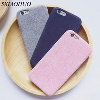 5XIAOHUO High-end simple phone case For Apple iphone 6 Case Fashion suede shell For iphone 6 6S 7 Plus case