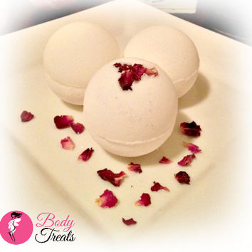 Champagne and Strawberries Bath Bomb Fizzy Rose Pedals Handmade Bath and Body Bath Soak