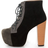Promise Jocie Black/Grey Suede Lace-Up Platform Booties - $48.00