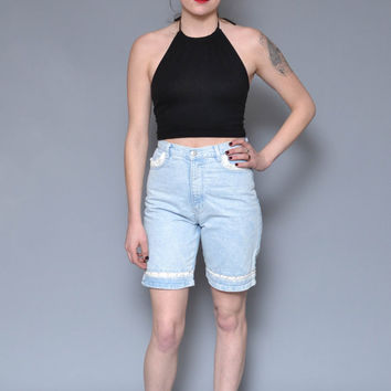 90s High Waisted Denim Shorts M Crochet Lace Mini Shorts Light Wash Grunge Goth PUNK Revival Boyfriend Hippie Boho Jean Short