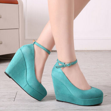 candy color wedge shoes pumps high heels Spring brief shallow mouth high heel shoes belt button women's wedges platform shoes