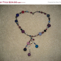 SALE Felt necklace pendant. Wool balls, glass beads, blue, pink, turquoise, violet, purple. Gifts under 25