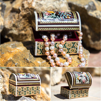 Wonderful Wood Jewelry Box With Peacock, Natural Wood Jewelry Box