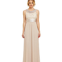 Jessica Howard Embroidered Gown - Champagne
