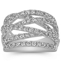 Wedding Band - Criss-Cross Diamond Wedding Ring 1.5 TCW