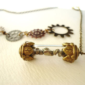 Steampunk Pyrite Filled Bronze Time Capsule & Gear Lariat Style Necklace