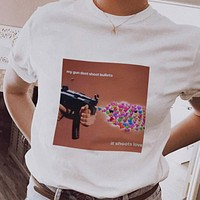 """My Gun Doesn't Shoot Bullets, It Shoots Love"" Tee"