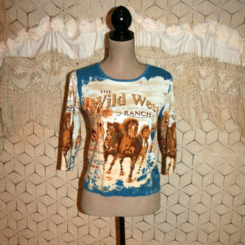 Horse Top Novelty Tee Western Cowgirl Shirt 3/4 Sleeve Wild West Horse Print Ranch Wear Cotton Women Tops Small Medium Womens Clothing